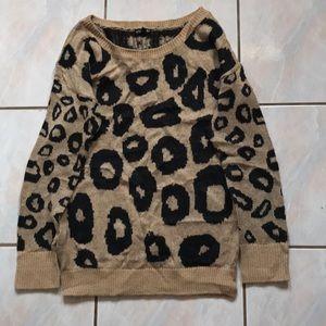Express leopard animal print boat neck sweater M
